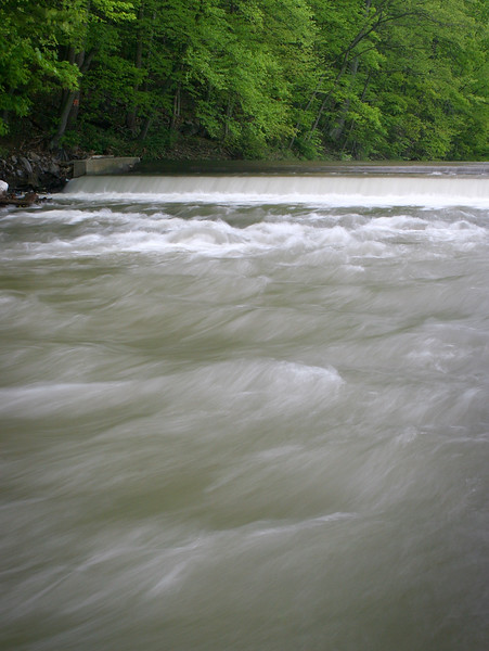 High water at the New Creek falls in Keyser, West Virginia