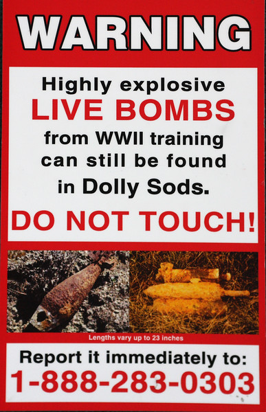 'Live Bombs' warning signs along the hiking trails in Dolly Sods, West Virginia