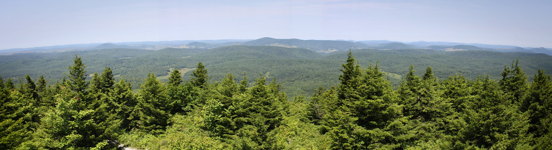 Stitched panoramic view (5 images) from the top of Spruce Knob, highest point in the state of West Virginia.