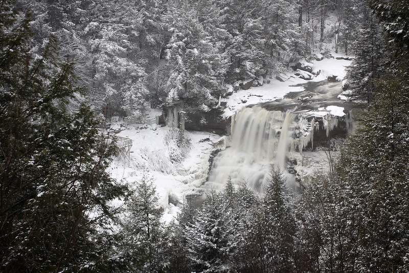 Blackwater Falls on a snowy winter day