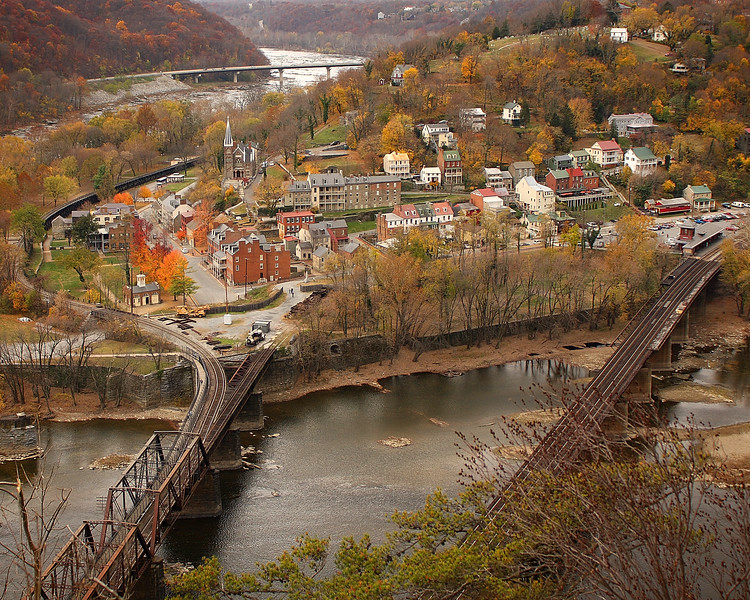 View of Harpers Ferry, West Virginia from Maryland Heights overlook