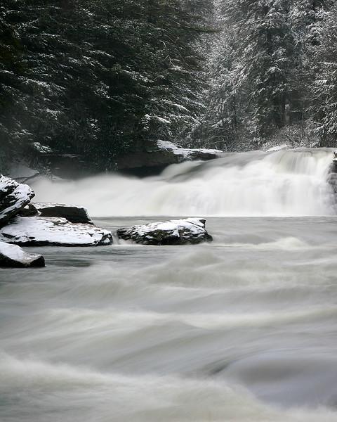 The raging water near Swallow Falls.