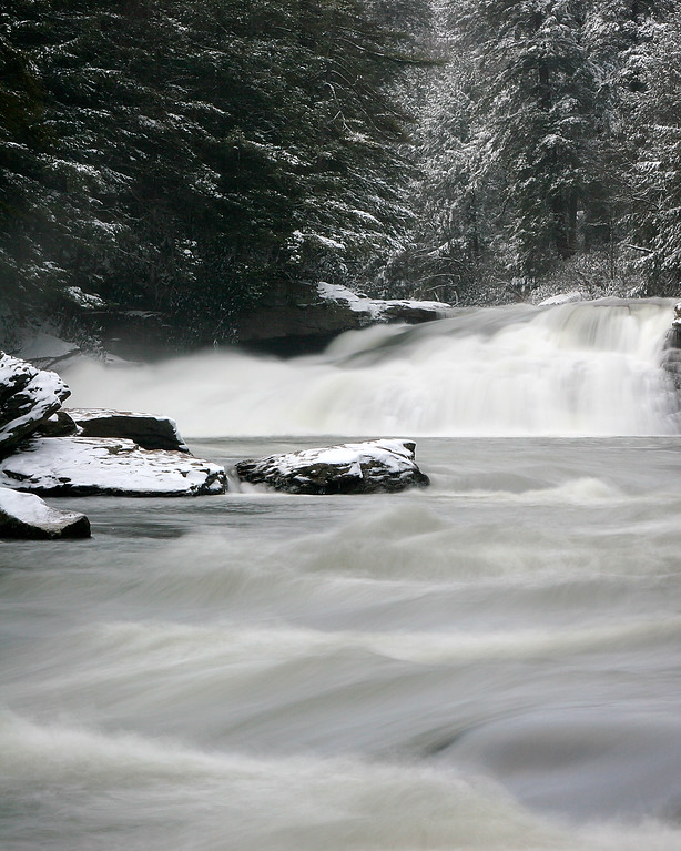 The raging water near Swallow Falls.