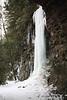 Frozen waterfall formed by run-off