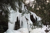 Frozen waterfalls formed by run-off