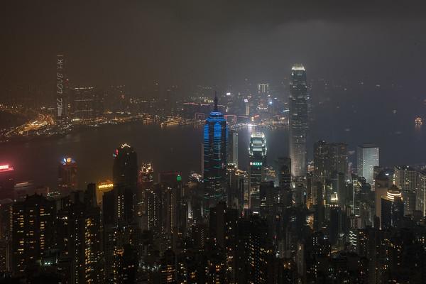 Hong Kong Island and Kowloon by Night
