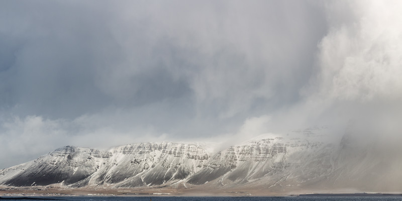 Blizzard Sweeping Over Kollafjordur