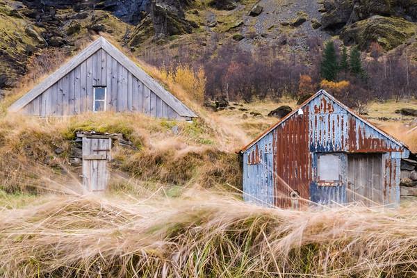 Turf Houses, Núpsstaður abandoned farm