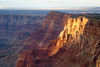 Evening light touches the South Rim of the Grand Canyon, Arizona.