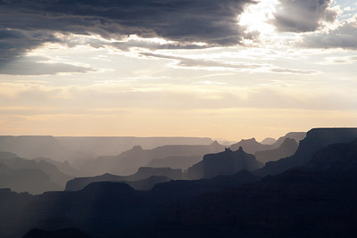 The endless layers of the Grand Canyon emerge as the afternoon sun passes overhead.