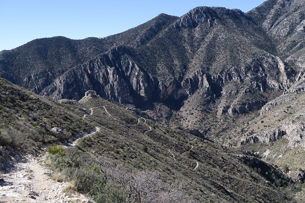 The winding Tejas Trail in Guadalupe Mountains National Park, Texas.