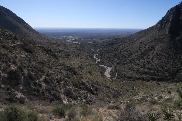 Looking back down Pine Spring Canyon - Guadalupe Mountains National Park, Texas