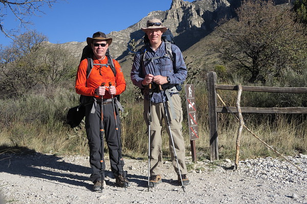 Jim and Greg ready for the trail.  Guadalupe Mountains National Park, Texas