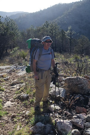 Andy pauses along the Tejas Trail on Day 2 - Guadalupe Mountains National Park, Texas