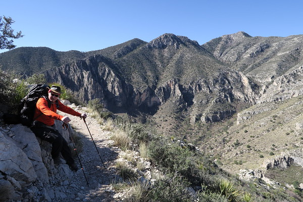 Jim takes a break high above Guadalupe Mountains National Park, Texas