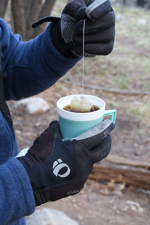 Hot tea on the trail.  Excellent choice.