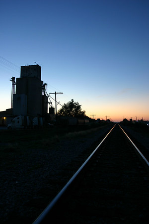 Bryant Grain Elevator, Aledo, Texas, at sunrise.
