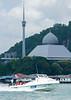 Fast Boat to Lankayan Resort (Sandakan Mosque in background)