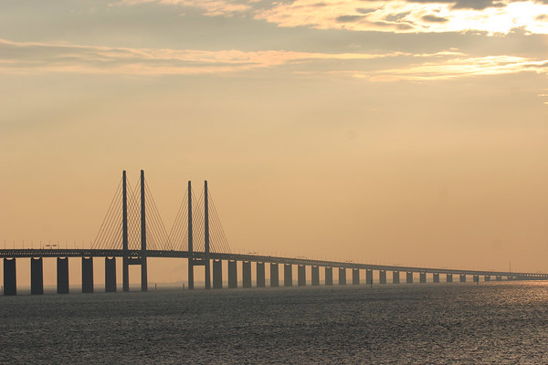 This is the bridge that connects Copenhagen, Denmark to Malmo, Sweden.  I took this shot from the Swedish side.