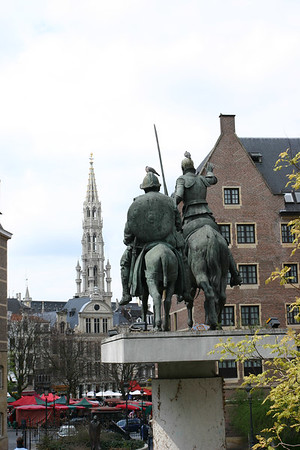 A statue of Don Quixote in downtown Brussels Belgium.