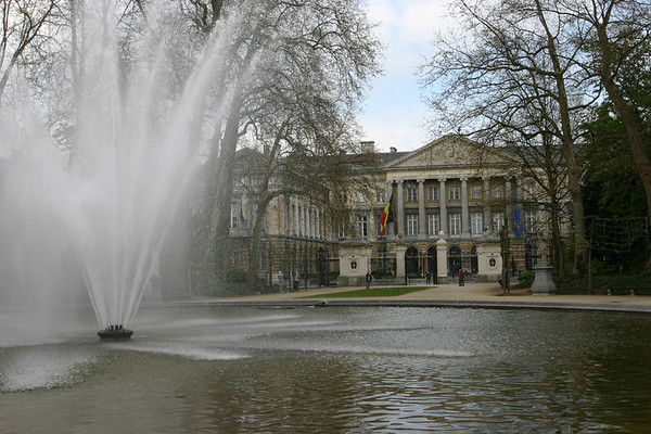 A beautiful fountain in front of the Parliament building in Brussels.