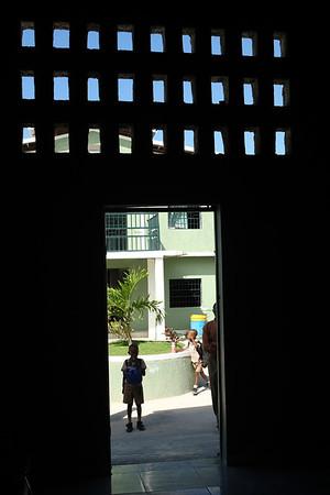 From inside the school office.