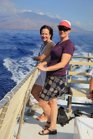 Jill and Martha were hanging out on the back of the Ocean Intrigue.
