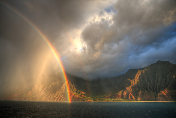 After the rain.  The Na Pali Coast of Kuaui basks in the warm afternoon soon after a brief rain shower.