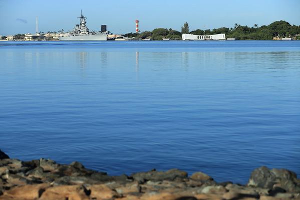 USS Missouri and the USS Arizona Memorial at Pearl Harbor