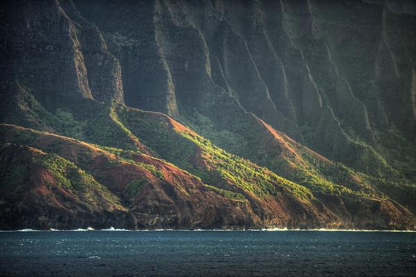 The almost inaccessible northwest coast of Kuaui - the Na Pali Coast.