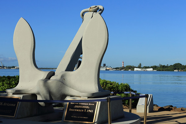 Anchor from the USS Arizona with the Memorial in the background