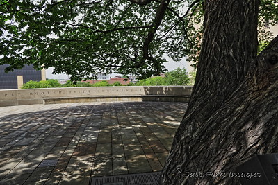 Oklahoma City National Memorial - Survivor Tree - This American Elm survived the bomb-blast that brought down the Alfred P. Murrah Federal Building on April 19, 1995.