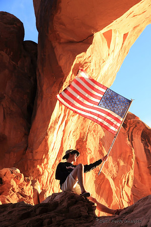 Aaron gets patriotic in Arches National Park, Utah