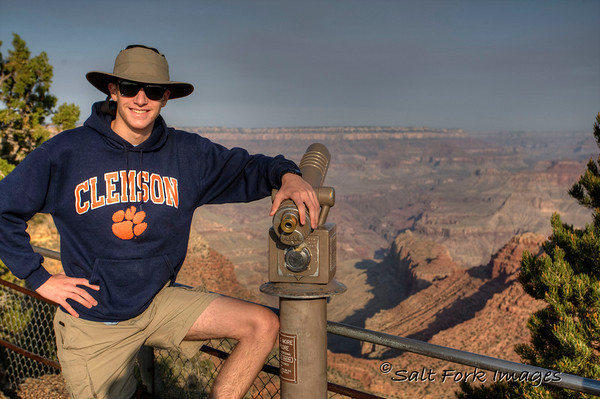 Aaron looks good in his Clemson hoodie at Grand Canyon.