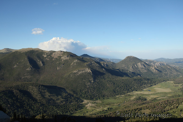 Rocky Mountain National Park - with a wildfire in the background.
