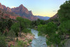 Virgin River at sunset in Zion National Park.
