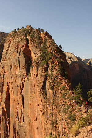 Angel's Landing from the approach.  Notice the guy in the red shirt in the lower right corner.  It's a long way down.... left and right!