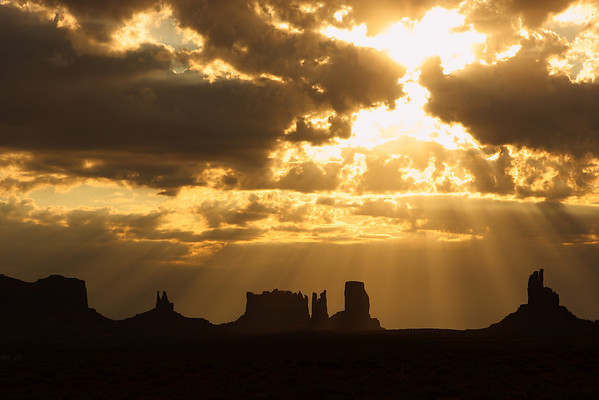 Sunrise in Monument Valley, Utah/Arizona.  The sun was not very cooperative as it came up behind a cloud bank.  Oh well, I'll just have to go back someday.