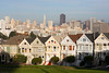 "The ""Painted Ladies"" with downtown San Francisco and the Triangle building in backgroun  SF08888"