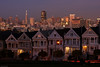 "The ""Painted Ladies"" at twilight with downtown San Francisco in background   SF081081"