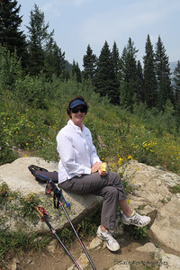 Jill takes a break along the trail.