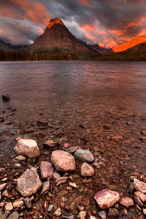 Sunrise over Two Medicine Lake in Glacier National Park, Montana
