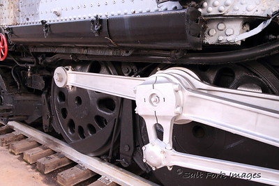 The giant drive wheels on the Big Boy 4004 - Union Pacific's last great steam locomotive.