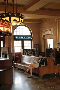 Jill waits patiently at the Union Pacific Depot in Cheyenne, Wyoming.