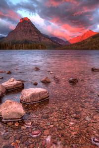Sunrise over Two Medicine Lake in Glacier National Park, Montana