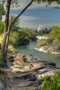 Mormon Temple in Idaho Falls along the Snake River.