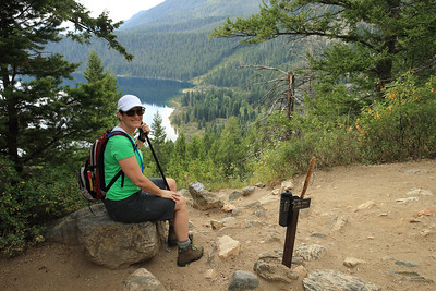Jill enjoys the Phelps Lake Overlook on the Death Canyon Trail in Grand Teton National Park, Wyoming.