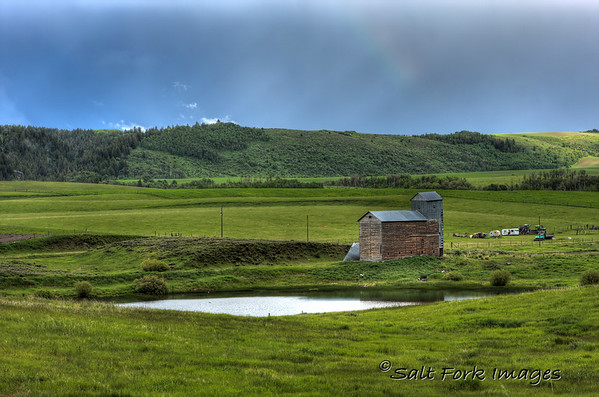 This old grain elevator graces the north end of Teton Valley, just north of Tetonia, Idaho.