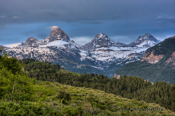 The west side of the Teton Range from Ski Hill Road above Driggs, Idaho and Alta, Wyoming.