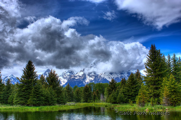 Schwabacher's Landing is usually all about the reflection in the beaver pond.  Today, it was about the clouds.